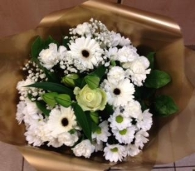 Traditional hand tied bouquet whites